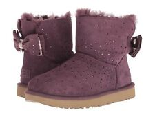 NEW UGG Uggs STARGIRL Bow Mini Boots Suede Port Purple Plum Perforated 8 EUR 39
