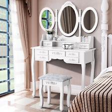 Tri-Folding Mirror Vanity Set 7 Drawers Dressing Table Makeup Desk & Stool White