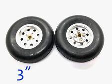 "1pair 3"" CNC Aluminum Hub & Rubber Wheel for RC Airplanes  (US GOOD SELLER/SHIP)"