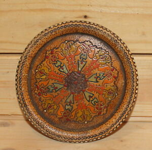 Vintage folk small hand made pyrography wood plate