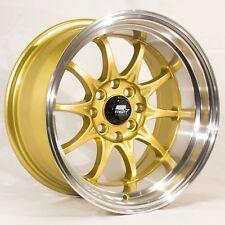 MST MT11 15x8 4x100/4x114.3 et0 Gold w/Machined Lip Wheels (Set of 4)