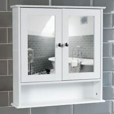 bathroom wall cabinet double mirror door wooden white shelf new by home discount