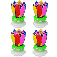 Musical Rotating Candle 2 layers Party Cake Birthday Lotus Flower Romantic 4 pcs