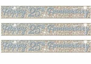 Silver Wedding Anniversary Banner Party Decoration 25th Anniversary Bunting