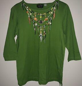 BOB MACKIE WEARABLE ART SHIRT Small Green EMBROIDERED Native American Indian EUC