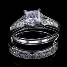 Set Band Sterling Silver 925 Simulated Princess Diamond Solitaire Trio Ring