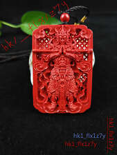Chinese Natural Red Organic Cinnabar Necklace Pendant Fashion Lucky Amulet Hot