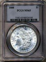 1888 Morgan PCGS MS-65 Rare Bright White Silver Dollar Coin Philadelphia Mint $1