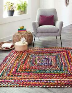3x5 feet square hand braided bohemian colorful cotton chindi rug multi color rug