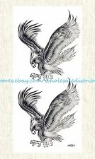 US SELLER, fake tattoo Halloween black eagle hawk temporary tattoo