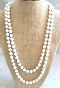 Vintage Flapper Length White Celluloid Beaded Necklace - 54 Inches Long