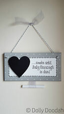 Grey New Baby Pregnancy Countdown Plaque Chalkboard Maternity Shower Sign Gift