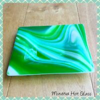 Fused Glass, Green, Fruit Bowl, Dish, Serving Bowl, Gift, Minerva Hot Glass