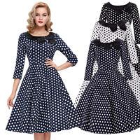 Vintage Style Retro 40's 50's Evening Swing Pin up Bowknot Tea Dress