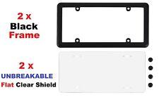 2 UNBREAKABLE Flat Clear Shield + 2 Black Frame + 8 Black Screw Caps