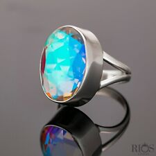 Chunky 925 Sterling Silver Mercury Mystic Topaz Facet Cut Bling Gemstone Boxed