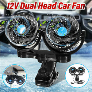360° Rotate 12V Dual Head Car Cooling Oscillating Back Seat Ventilation Air Fan