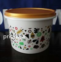 Tupperware Happiness Holiday Canister Container 1.1L Gold Seal New in Package
