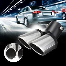 Auto Edelstahl Auspuff Blende Doppelendrohr Rohr Endrohre Tail Universal 63mm
