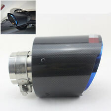"Compact Carbon Fiber Exhaust Tip Blue Stainless Muffler Pipe 2.5"" Inlet 4.5"" Out"