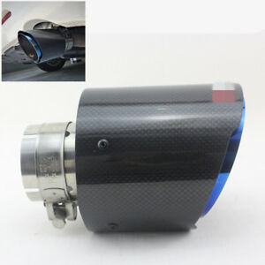 """Compact Carbon Fiber Exhaust Tip Blue Stainless Muffler Pipe 2.5"""" Inlet 4.5"""" Out"""