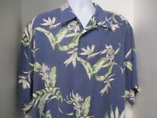 Tommy Bahama Hawaiian Style Shirt, S/S, Blue with Flowers, Large, 100% Silk
