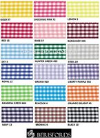 BERISFORDS GINGHAM CHECK RIBBON 5MM WIDE 18 COLOURS- 1 METRE TO A FULL ROLL