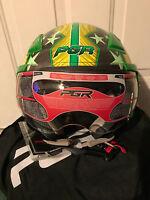 LARGE- PGR OP01 STAR GREY GREEN Open Face DOT Helmet Jet Pilot Scooter Moped