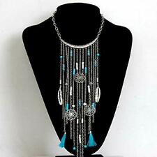 Statement Necklace Vintage Anti Silver Gold Tone Tassel Bohemian 60050 US Seller