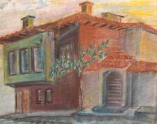 ORIGINAL VINTAGE PASTEL PAINTING IMPRESSIONIST LANDSCAPE HOUSE