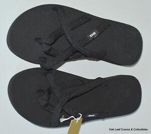 Teva Olowahu Mush Flip Flops Sandals Women's Thongs Black on Black 6840-w NEW 7