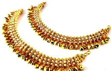 Kundan Pearls Stone payal Anklet indian fashion Belly Dance Jewelry Traditional