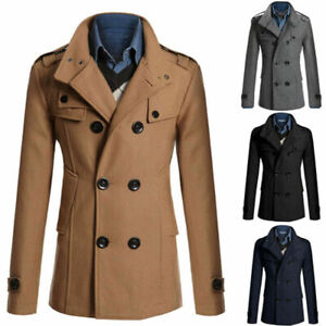 Mens Black Wool & Cashmere Pea Coat Double Breasted Heavy Warm Winter Overcoat