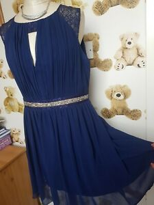 Lipsy Stunning Size 14 Navy Bling Special Occasion Dress