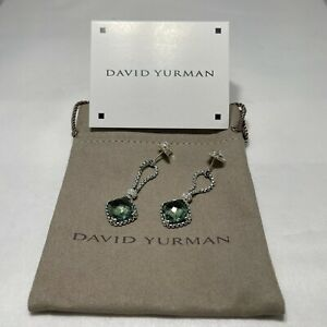David Yurman Sterling Silver Prasiolite Cushion on Point Diamond Earrings