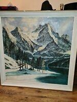 Großes und altes Gemälde # Acryl auf Leinwand # Berge im Schnee # 100x100cm