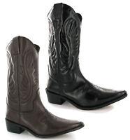 Cowboy Leather Calf Length Mens Boots UK6-12