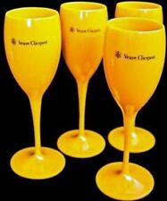 VEUVE CLICQUOT YELLOW CHAMPAGNE POOLSIDE HOT TUB POLYCARB FLUTES X4 UNBOXED