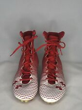 Under Armour Cleats Men's Clutch Fit Running White Red Athletic Tennis Shoes 11