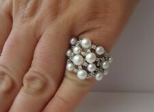 925 STERLING SILVER PEARL RING W/ 1 CT LAB DIAMONDS & WHITE PEARLS/ SZ 5 - 9