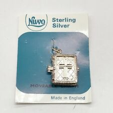 VINTAGE SOLID SILVER 925 NUVO STERLING HOLLY BIBLE OPENS CHARM BRACELET PENDANT