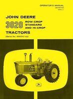 John Deere 3020 Row Crop Standard Hi Tractor Operators Manual SN 68000-122999 JD
