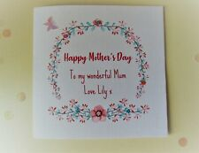 Mother's Day Card Handmade Personalised Mummy Mum Mother Mam Mom Mammy Butterfly
