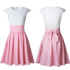 Women's Lace Party Cocktail Mini Dress Ladies Summer Short Sleeve Skater Dresses