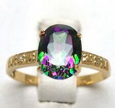 SYJEWELRYEMPIRE 10KT SOLID YELLOW GOLD MYSTIC TOPAZ & DIAMOND RING SIZE 7 R931