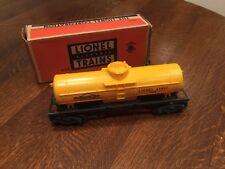 Lionel Trains Postwar O 027 Scale Model Train Yellow Sunoco Tanker Tank Car 6015