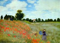 Poppies by Claude Monet CANVAS WALL ART PICTURE 20X30 INCHES