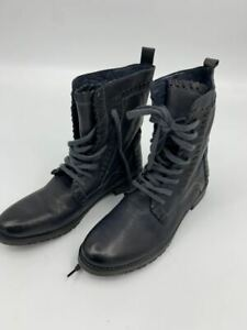 New Vintage Foundy womens Sadie Combat Lace up Sz 9 Leather Black N409