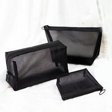 3pcs Cosmetic Bag Travel Fashion Black Toiletry Makeup Organizer Bags Case PouZH