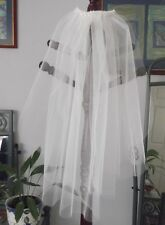 BEADED COMB TWO TIER BRIDAL VEIL, CUT EDGE, WHITE or  IVORY COLOURS, NEW, AUST.